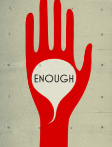 "Illustration of raised hand with a message bubble in it's palm that reads ""ENOUGH."""